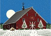 Christmas,Barn,Farm,Non-Urban Scene,Winter,Tree,Rural Scene,Snow,Holiday,Vector,Night,Weather Vane,Wreath,Snowing,Ilustration,Holidays And Celebrations,Christmas,Decoration,Dusk,Cold - Termperature,Star Shape,Field