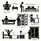 Computer Icon,Chair,Stick Figure,People,Cabinet,Coffee - Drink,European Culture,Computer,Dining,Cartoon,Armchair,Domestic Life,Symbol,Table,One Person,Men,Residential Structure,Desk,Sofa,House,Wood - Material,Lifestyles,Side Table,Bed,Storage Room,Inside Of,Improvement,Vector,Closet,Residential District,Bedroom,Rack,Shelf,Indoors,Storage Compartment,Working,Isolated,Living Room,Design,House,Furniture,Home Interior,Group of Objects,The Human Body,Box - Container