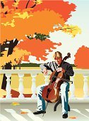 Performer,Balustrade,Autumn,Ilustration,Balcony,Maple Leaf,Cellist,Artist,Scenics,Sitting,People,Men,Vector,One Person,Human Hair,Human Face,Shirt,Tree,Day,Modern,Playing,Classical Music,Cello,Music,Musician,Adult
