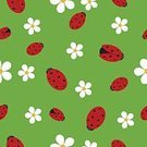 Pattern,Flower,Nature,Beetle,Illustrations And Vector Art,Wallpaper Pattern,Summer,Spotted,Cartoon,Ladybug,Effortless,Backgrounds,Insect,Cute