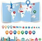 Thumbtack,Vector,World Map,Eiffel Tower,Paris - France,Design Element,Flag,Italy,France,Star - Space,Silhouette,Famous Place,Rome - Italy,Travel Location,Pointer,Statue of Liberty,Computer Icon,USA