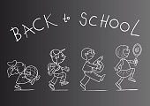 Joy,Education,Cheerful,Blackboard,Smiling,Studying,Childhood,Backgrounds,Child,Teenager,Cute,Chalk Drawing,Illustration,Sketch,Boys,Females,Teenage Girls,Elementary Age,Male Animal,Vector,Teenagers Only,Back to School,Adolescence,Background,Kids - Charity Organization,Female