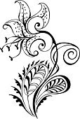 Tiger Lily,Flower,Body Adornment,Black And White,Floral Pattern,Design Element,Silhouette,Ilustration,Ornate,Leaf,Art,Scroll Shape,Foliate Pattern,Painted Image,Pencil Drawing,Inks On Paper,hand drawing,Natural Pattern,page decoration