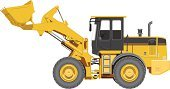 Front End Loader,Loading,Tractor,Industry,Painted Image,Vector,Power,Scoop,Scraper,Front View,Single Object,Wheel,Diesel,Large,Construction Machinery,Equipment,Hydraulic Platform,Isolated,Construction Industry,Machinery,Yellow,Heavy,Digging