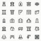 Building Exterior,Symbol,Computer Icon,Pattern,House,Construction Industry,Museum,Vector,Ideas,Architectural Column,Collection,History,Antique,Ancient,Set,Architecture,Design Element