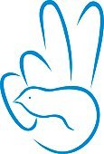 Vector,Ilustration,Dove - Bird,1970s Style,Retro Revival,Peace Sign,Hippie,Peace On Earth,Symbols Of Peace,Anti-war Movement,Human Hand,Poultry,Hope,Symbol,Blue,Computer Icon,Friendship,1960s Style,Human Finger,Bird,Love,Peace Symbol