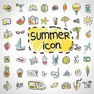 Suitcase,Beach,Doodle,Cocktail,Season,Collection,Vector,Relaxation,Summer,Camera - Photographic Equipment,Ilustration,Melon,Group of Objects,Sea,Abstract,Clothing,Bag,Ice,Joy,Adventure