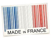 Backgrounds,Coding,Freight Transportation,Identity,Sign,White,Merchandise,Design,Badge,Colors,Red,Data,Ethnicity,Scar,New,Symbol,Bar Code,nation,Business,Industry,Creativity,Blue,Flag,Insignia,France,made in,Made In France,Label,Vector,Making,Ilustration,Isolated