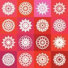 Napkin,Textile,Computer Graphic,Circle,Geometric Shape,Ornate,East,Cultures,spirograph,Symmetry,Embroidery,Mosaic,Backgrounds,Abstract,Sign,Collection,Decoration,Ilustration,Mandala,Vector,Pattern,Red