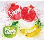 Pomegranate,Food,Vegetarian Food,Single Object,Leaf,Fruit,Freshness,Nature,Brush Stroke,Banana,Dieting,Part Of,Red,Ilustration,Multi Colored,Close-up,Dessert,Refreshment,Summer,Organic,Ripe
