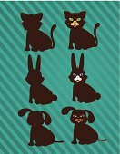 Silhouette,Pets,Rabbit - Animal,Classic,Concepts,Decoration,Part Of,Image,Cute,Ideas,Design Element,Design,Domestic Cat,Computer Graphic,Dog,Animal,Ilustration,Vector,Symbol