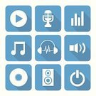 Radio,Symbol,Vector,Icon Set,Play,Record,Flat,Interface Icons,Shadow,Arrow Button,Sound,Blue,Cartoon,Singing,Equipment,Volume - Fluid Capacity,Sign,Music,The Media,Computer Graphic,Speaker,Microphone,Musical Note,Listening,Ilustration,Headphones,Entertainment,Sound Mixer,Disk
