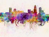 Charlotte - North Carolina ,Urban Skyline,North Carolina,Color Image,Backgrounds,Spray,Watercolor Painting,USA,Famous Place,Architecture,Multi Colored,North America,Grunge,Cityscape,Monument,Panoramic,Creativity,Splattered,Textured Effect,Ilustration,Vibrant Color,Painted Image