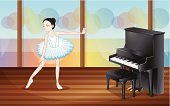 Striped,Brown,Flooring,Wood - Material,Piano,Practicing,Concentration,Skirt,Performance,Rehearsal,Domestic Room,Indoors,Computer Graphic,Image,Skill,Grace,Women,People,Ballet Dancer,Dancing,Ballet,Vector
