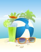 Drink,Symbol,Design,Vacations,Ilustration,Cultures,Flyer,Resting,Ice,Palm Tree,Freshness,Glass,Travel Destinations,Volleyball,Cold - Termperature,Banner,Cocktail,Relaxation,Fun,Sunny,Tourist Resort,Fruit,Cool,Lifestyles,Soda,Summer,Beach,Sea,Sunglasses,Sand,Vector,Ball,Backgrounds,Eps10