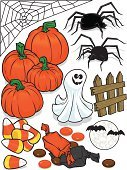 Halloween,Candy,Ghost,Spider Web,Bat - Animal,Spooky,Autumn,Ilustration,Vector,Horror,Fence,Moon,Gourd,Halloween,Holidays And Celebrations,Celebration,Part Of