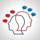 Asking,Human Head,Abstract,Meeting,Discussion,Togetherness,Problems,Talking,People,Speech,Communication,Thinking,Gossip,Ilustration,Symbol,Ideas,Vector