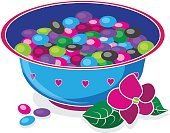 Birthday,Party - Social Event,Halloween,Easter,Ilustration,Vector,Bowl,Multi Colored,Jelly Candy,Jellybean,Sweet Food,Unhealthy Eating,Food,Candy