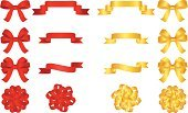 Bow,Ribbon,Gift,Christmas,Gold Colored,Red,Banner,Gold,Christmas Ornament,Vector,Holiday,Satin,Christmas Decoration,Decoration,Side View,Ilustration,Ornate,Placard,Set,Design,Isolated,Silk,Shiny,Arts And Entertainment,Illustrations And Vector Art,Arts Symbols,Visual Art