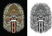 Balinese Culture,Devil,Tattoo,Dancing,East Asian Culture,Ilustration,Hinduism,Indonesia,Symbol,Spirituality,Graphic T-Shirt,Vector,Evil,Indigenous Culture,Mask,Decoration,Mythology,Ceremonial Dancing,T-Shirt,Leaking,Barong Dance,Ornate,Cultures,Clip Art,Demon