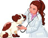 Veterinary Medicine,Young Animal,Doctor,Stethoscope,Fun,Cartoon,Vector,Humor,Comic Book,Friendship,Young Adult,Healthcare And Medicine,Happiness,Cheerful,Animal,Vet,Smiley Face,Medicine,Dog,Puppy,Women,Pets,Cub,Healthy Lifestyle