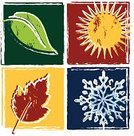 Four Seasons,Season,Woodcut,Winter,Autumn,Sun,Snowflake,Leaf,Springtime,Summer,Vector,Ilustration,Dirty,Sketch,Grunge,Painterly Effect,Green Color,Red,Design,Old,Blue,Yellow,Nature,Summer,Run-Down,Winter,Weathered