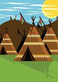 Teepee,North American Tribal Culture,Vector,Camping,Tent,Indigenous Culture,Pattern,House,Grass,Sun,Non-Urban Scene,Ilustration,Clip Art,Illustrations And Vector Art,Bivouac,Focus on Shadow,Hill,Cloudscape,Sunlight,Computer Graphic,Objects/Equipment,Cloud - Sky,Shadow,Outdoors,Weather Shelter,Architecture And Buildings,Nature