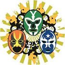 Wrestling,Mexican Culture,Mask,Fighting,Insignia,Backgrounds,Combat Sport,Sport,Three Objects,Disguise,Three People,anonym,Arts And Entertainment,Cultures,Floral Pattern