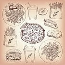 Food,Retro Revival,Old-fashioned,Burger,Sandwich,Vector,Sketch,Ilustration,Salad,French Fries,Lettuce,Hamburger,Tomato,Gourmet,Donut,Sesame,Drink,Condiment,Cheese,Snack,Meal,Indigenous Culture,Cheeseburger,Collection,Pepperoni,Cultures,Meat,Speed,Bun,Beef,Decoration,Obsolete,Sausage,Unhealthy Eating,Sweet Bun,Steak,American Culture,Refreshment,Cheddar - Cheese,Vegetable,Coffee - Drink