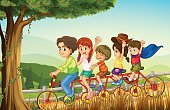 Vector,Teenager,Enjoyment,Wheel,Outdoors,Tree,Plant,Branch,Tire,Wood - Material,Small,Computer Graphic,Image,Grass,Women,People,Men,Little Boys,Cycling