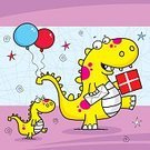 Birthday Card,Birthday Present,Humor,Cute,Ilustration,Greeting Card,Gift,Cartoon,Dinosaur,Birthday,Vector,Holiday,Happiness,Reptile,Funky,Characters,Balloon,Celebration,Fun,Multi Colored,Cheerful