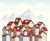 Cloud - Sky,Sky,Cute,Landscape,Ilustration,Vector,Mountain Range,Built Structure,Town,Roof,City,Home Interior,House,Red