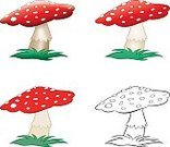 Amanita Parcivolvata,Grass,Vector,Isolated,Symbol,Red,Ilustration,Fly Agaric Mushroom,Art,Outdoors,Group of Objects,Magic Mushroom,Plant,Poisonous Organism,Color Gradient,Clip Art,Porcelain Agaric,Toadstool,Gardening,Spotted,Fungus,Nature,Mushroom,Cartoon