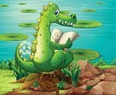 Storytelling,Tree,Sitting,Imagination,Rock - Object,non-fiction,Mineral,Vector,Leaf,Plant,Pond,Book,Reading,Image,Water Lily,Grass,Brown,Computer Graphic,Crocodile,Lifestyles,Animal,Alligator,Carnivore