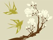 Bird,Flower,Tree,Floral Pattern,Branch,Vector,Swallow - Bird,Retro Revival,Magnolia,Springtime,Ilustration,Nature,Art Deco,Blossom,East Asian Culture,Plant,Victorian Style,Asia,Brown,Curve,Classical Style,Beige,Flying,Two Animals,Animal Themes,Flowers,beige background,Color Image,Nature Backgrounds,Nature,Horizontal,Animals And Pets,Wildlife,Studio Shot,No People,Animal Backgrounds