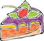 Food,Hand Colored,Multi Colored,Cake,Cheesecake,Bakery,Cherry,Watercolor Painting,Cheese