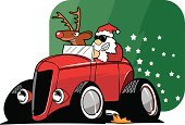 Santa Claus,Car,Christmas,Hot Rod,Cartoon,Rudolph The Red-nosed Reindeer,Transportation,Vector,Ilustration,Flame,Cultures,Customized,Red,Christmas,Transportation,Holidays And Celebrations,Star Shape,Green Color,Illustrations And Vector Art