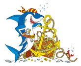 Shark,Pirate,Cartoon,Treasure,Treasure Chest,Underwater,Anchor,Sea,Animal,Vector,At The Bottom Of,Great White Shark,Crab,Trunk,Gold Colored,Humor,Rope,Ilustration,Bandana,hand drawing,Animals In The Wild,Gold,Clip Art,No People,Large Group of Objects,Copy Space,kiddish,Animals And Pets,One Animal,Illustrations And Vector Art,Sea Life,Smiling,Water