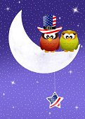 Happiness,Ilustration,Hat,Joy,Young Animal,Blue,Bird,Owl,Celebration,Event,The Americas,Holiday,Creativity,Flag,Independence,July,Day,Red