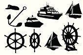 Nautical Vessel,Yacht,Yacht,Wheel,Silhouette,Helm,Motorboat,Sailboat,Driving,Vector,Sailing,Anchor,Sail,Speedboat,Computer Graphic,Ilustration,Transportation,Shape,Outline,Insignia,Digitally Generated Image,Mode of Transport,Hat,Sketch,Isolated,Cut Out,Black Color,Tracing,Isolated On White,Focus on Shadow