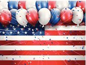 Fourth of July,Holiday,EPS 10,Eps10,Confetti,Balloon,Celebration,Flag,Vector,American Flag,Independence Day,Party - Social Event,USA,Backgrounds