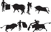 Bullfighter,Bull - Animal,Bullfight,Spanish Culture,Silhouette,Vector,Cartoon,Back Lit,Black Color,Ilustration,Men,Animal,Isolated On White,People,Large Group of Objects,Sport,Athlete,Outline,Clip Art,Sketch,Success,Design,Wildlife,Competition,White Background,Male,Leisure Activity,Cut Out,Practicing,Exercising,Animal Themes,Sports Event,Action,Danger,Winning,Collection,Design Element,Digitally Generated Image,Determination,Sports Training,Isolated,Focus - Concept,Adult,Competitive Sport,Digital Composite,Strength,Illustrations And Vector Art,Domestic Animals,Recreational Pursuit
