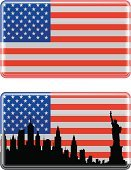New York City,Urban Skyline,Statue of Liberty,Flag,American Flag,Silhouette,Manhattan,Ilustration,Cityscape,City,Vector,USA,Black Color,Rectangle,National Flag,Isolated,Star Shape,Isolated On White,No People,White,Red,Blue,Shiny,Striped,Illustrations And Vector Art