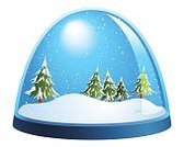 Snow Globe,Cold - Termperature,Vector,Clip Art,White Background,Snowing,No People,Winter