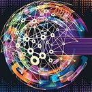 Futuristic,Technology,Vector,Multi Colored,Abstract,Backgrounds,Internet,Social Networking,Connection,The Media,Information Medium,Community,Blue,Space,Spotted,Network Server,Wireless Technology,Data,Computer Network
