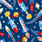 Rocket,Taking Off,Circle,Cute,Machinery,Vector,Technology,Travel,Exploding,seamless pattern,Space,repeat pattern,Star Shape,Planet - Space,Transportation