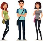 College Student,Characters,Teenager,Women,Adolescence,People,Teenagers Only,Men,Student,Teenage Girls,Casual Clothing,Smiling,Cool,Cartoon,Confidence,Highschool Student,Vector,Female,Jeans,Male,Cheerful,Fashion,Clothing,Isolated,Education,Beautiful,Goatee,Eyeglasses,Arms Crossed,Male Beauty,Cute,Young Adult