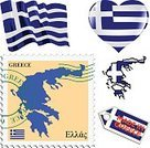 Postage Stamp,Earth,Globe - Man Made Object,Map,Cartography,Politics,Greece,Country - Geographic Area,Flag,Set,Collection,Label,Design,Computer Icon,Symbol,Vector,Government