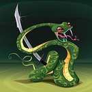 Characters,Saber,Comic Book,Zoo,Magic,Ilustration,Weapon,Reptile,Humor,Color Image,Animal,Snake,Sword,Chinese Culture,Chinese Ethnicity,Cartoon,Vector,Circus,Viper