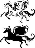 Concepts,Mystery,Symbol,Fantasy,Vertical,Coat Of Arms,Gothic Style,Black And White,Animal,Running,Flying,Mammal,Black Color,Horse,Silhouette,Greek Culture,Animal Wing,Pegasus,Color Image,Illustration,Greek Mythology,No People,